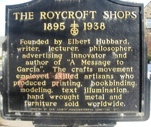 Plague marking the site of the Roycroft Shops in East Aurora, NY
