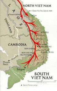 The routes of the Ho Chi Minh Trail