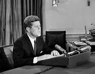 President Kennedy addressing the nation on the missiles in Cuba