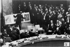 U-2 photos showing Cuban missiles sites on display at UN