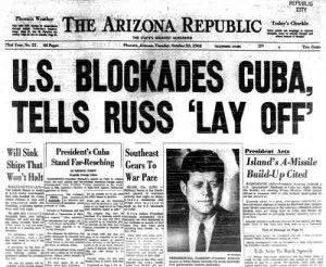 Typical newspaper headline following JFK's Oct 22nd broadcast to nation