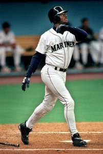 Griffey turned on the pitch, like a cobra striking...