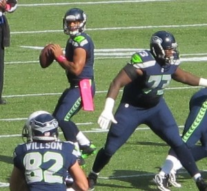 Russell Wilson looks to throw