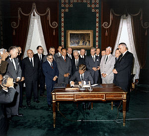 Kennedy signing the Limited Test Ban Treaty
