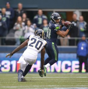 Golden Tate on one of his eight grabs