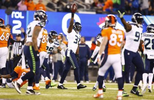 Kam Chancellor celebrates his interception