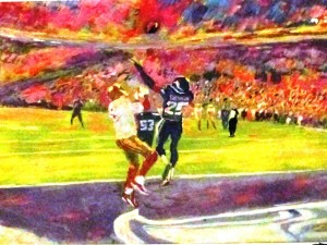 """""""Not in Our House"""": Painting of Richard Sherman's """"Immaculate Deflection"""" by Robert Blehert"""