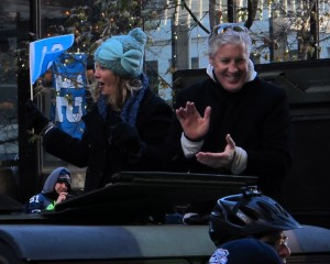 Pete Carroll and his wife at the Seahawks Victory celebration in downtown Seattle...photo by Mark Arnold