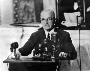 "President Truman delivering ""Truman Doctrine"" speech to Congress"