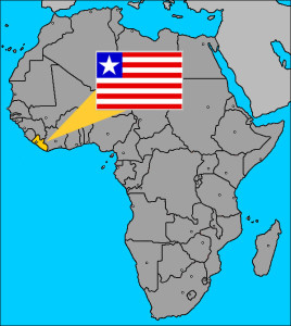 Map of Africa showing the location of Liberia
