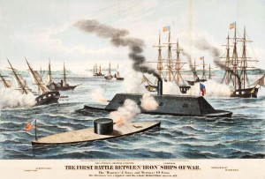 """Artist rendering of the Battle of the Ironclads, Hampton Roads, Virginia, March 1862. (The """"Monitor"""" is in the foreground.)"""