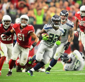 Seahawks running back Christine Michael rushed for 102 yards vs. Cards