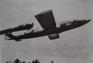 "The German V-1 rocket, also called a ""buzz-bomb"""