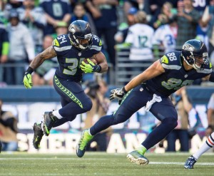 Thomas Rawls on the run...he exploded for 209 yards rushing vs. 49ers!