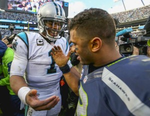 Russell Wilson congratulates Cam Newton following Seattle's 31-24 divisional round playoff loss