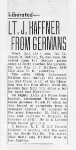 Newspaper article announcing Dan Haffner's release from the Germans