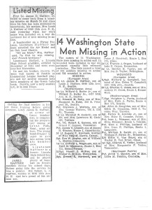 Newspaper articles announcing Dan Haffner as missing in action