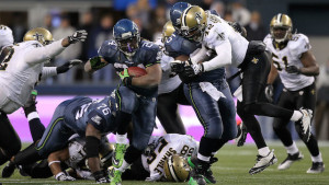 during the 2011 NFC wild-card playoff game at Qwest Field on January 8, 2011 in Seattle, Washington.