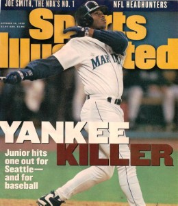 Junior on the cover of Sports Illustrated following 1995 playoff victory over Yankees