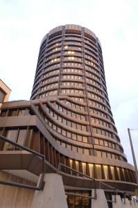 The Bank for International Settlements building in Basel, Switzerland