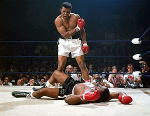 Muhammad Ali standing over the defeated Sonny Liston