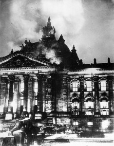 An image of the Reichstag Fire as it actually occurred